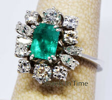 Ladies Diamond & Emerald Ring 18k White Gold Size 6.5