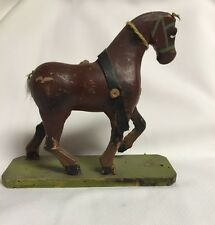 Vintage Brown Wood Horse Pull Toy with Green Base~Germany