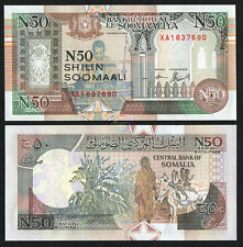 "SOMALIA 50 Shillings Prefix ""XA"" Replacement Note 1991 P-R2 UNC Uncirculated"