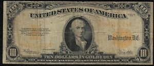 1922 $10 Large Gold Certificate *Free S/H After 1st Item*