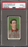 Rare 1909-11 T206 HOF Roger Bresnahan Portrait Piedmont 150 St Louis PSA 2.5 GD+