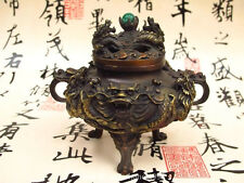 Chinese Royal Buddhism Red Bronze Two Dragon Play Bead Palace Incense Burner