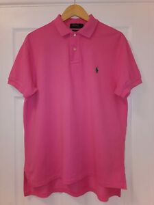 RALPH LAUREN - MEN'S PINK POLO SHIRT - LARGE - CUSTOM FIT - 100% AUTHENTIC