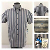 NWT Kuhl Bohemian Mens S Gray Jacquard Wicking UPF20 Metal Button Down Shirt