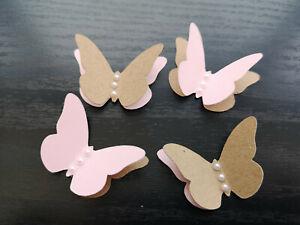 Rustic Wedding Table Decorations Paper Butterflies pink & craftbrown vintage