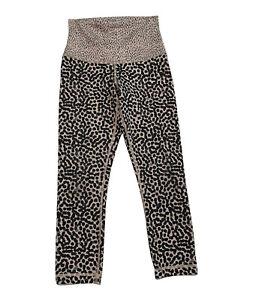 Lululemon Wunder Under Crop IRoll Down Cream Leopard Print Cropped Leggings