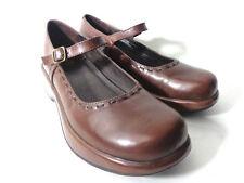 DANSKO US 10.5 11M Chocolate Brown Leather Mary Jane Platform Clogs Shoes BRAZIL