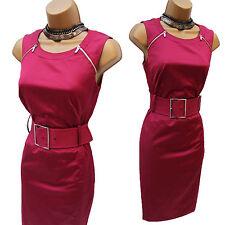 KAREN MILLEN Cotton Satin Fuchsia Pink Cocktail Zip Wiggle Pencil Dress 8 UK