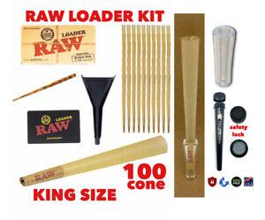 RAW Classic King Size Cones(100 pk)+raw cone loader+GLASS TIP +PHILADELPHIA TU