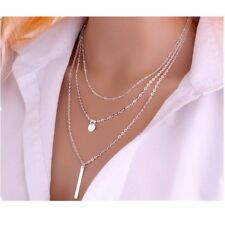 European Simple Sequins Bar Multilayer Chain Tassel Clavicle Necklace Silver