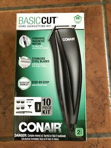 CONAIR Basic Cut 10 Piece Kit Home Hair Cutting Kit Clippers Trimmer Stainless