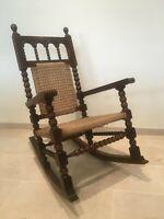 Spanish Antique 19th Century Baroque Colonial Bobbin Rocking Chair