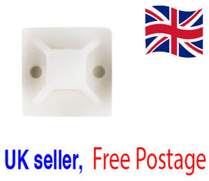 20mm Wire Clamp Mounting Adhesive Backed DIY Cable Holder Base Genuine UK Seller