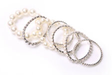 Gorgeous Set Of Seven Large Peral White&Diamante Beaded Elastic Bracelets (T502)