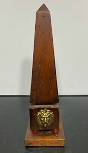 Vintage Carved Wood Obelisk Art Pillar Sculpture w/Lion Head