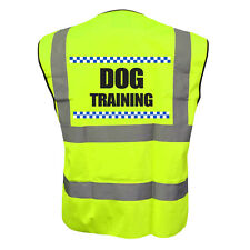 SILLITOE DOG TRAINING YELLOW HI VIZ VIS WAISTCOAT VEST SAFETY JACKET CANINE