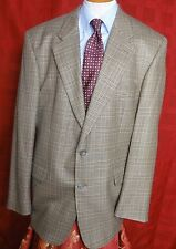 Men's Geoffrey Beene Brown Glen Plaid Wool 2 Button Sport Coat Size 44R