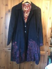 Rrp £169 : AN INDIAN SUMMER X RANI : Artisan Embroidered Black Velvet Coat UK 12