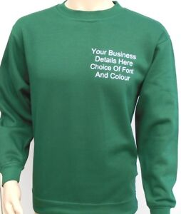 New Custom Printed Text Personalised SWEATSHIRT Jumper Work Wear Sweat Shirt
