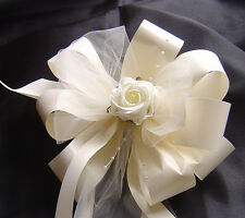 10 Luxury Floristry Ribbon, Tulle and Rose wedding Pew Bows NEW