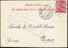 717 BRITISH INDIA TO SWITZERLAND CARD 1912 BOMBAY - GENEVE