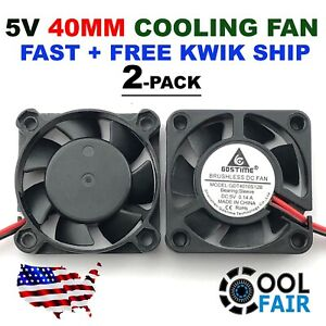 5V 40mm Cooling Computer Case Fan 4010 40x40x10mm DC PC 3D Printer 2-Pin 2-Pack