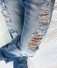 Ariya Destroyed Ripped Embellished Sequin Low Rise Flare Denim Jeans 9 10 x 31