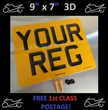 """9""""x7""""  3D MOTORCYCLE MOTORBIKE NUMBER PLATE 100% MOT & ROAD LEGAL YES JUST £5.95"""