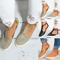 Womens Ankle Strap Flat T-Strap Summer Espadrilles Sandals Flats Casual Shoes US