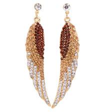 Gold Clubwear Dangle Biker Wedding Earrings Angel Wings Rhinestone Brown