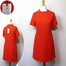 M&S BEST of BRITISH Jacquard 60's STYLE A-Line DRESS ~ 10 to 18 ~ DARK ORANGE
