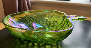 """Vintage Indiana Glass Serving Bowl/ Dish- Strawberry Shape- Green- Textured 13"""""""