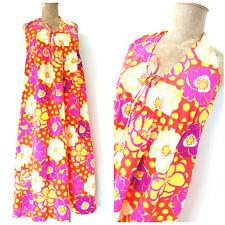 Vintage 60s Hawaiian Halter Top Dress Size Medium MOD Maxi Swim Suit Cover Up