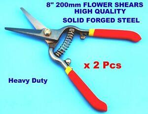 """2Pcs 8"""" 200mm FLOWER SHEAR Pruning cutter Fruit Heavy Duty Secateurs solid steel"""