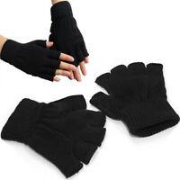 Knitted Warm Black Women Men Half Finger Elastic Gloves Work Mitten Glove Soft