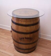 """JD TN Honey Branded-Engraved-Sanded-Finished Whiskey Barrel c/30"""" Glass TableTop"""