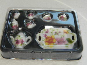 (A1.17) 1/12th scale DOLLS HOUSE CHINA SPRING FLOWER TEA/COFFEE SET