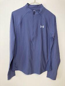Under Armour Heatgear Women's blue long sleeve shirt top 1/4 zip Medium Fitted