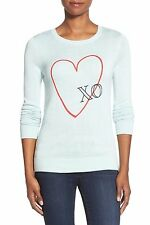 Halogen Women's Embroidered Crewneck Sweater Blue Raindrop XO XS $68 J826