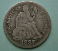 United States 1887-S  Silver Seated Liberty Dime 10 Cent Coin