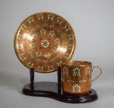 Copeland Orange & Black Hand Painted Coffee Cup & Saucer, Circa 1880