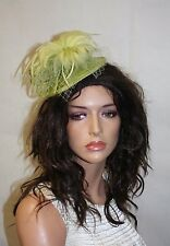 Light Green Fascinator with Feather, Wedding and Prom Accessories, Hair Comb