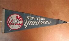 "Vintage 1940s New York Yankees Baseball Team Pennant Wool/Felt 26"" Great Print!"