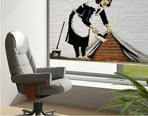 Printed Picture Photo Roller Blind Banksy sweeper maid graffiti Blackout Blind