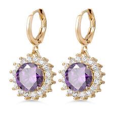 Dangle Flower Daisy Purple Crystal Gold Filled Women Wedding Drop Hoop Earrings