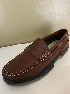LL Bean Men's Size 10 Medium Brown Penny Loafers Leather Slip On Dress Shoes