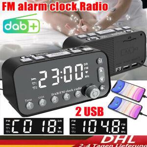 Funk DAB+ Radiowecker Tischuhr FM UKW Uhrenradio 2x Alarm 2x USB LED Projektion