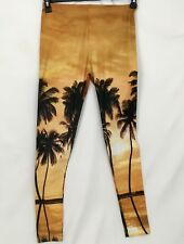 Comfy Yoga Womens Size S/M Orange Hawaiian Stretch Workout Leggings Pants