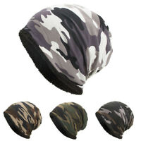 Women Men Winter Warm Fleece Lined Knit Beanie Hat Camouflage Ski Snowboard Cap