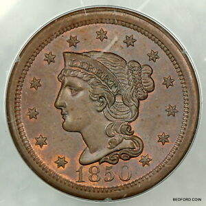 OLD RATTLER SLAB PCGS MS64 RB 1850 BRAIDED HAIR LARGE CENT 1c    (BC93)